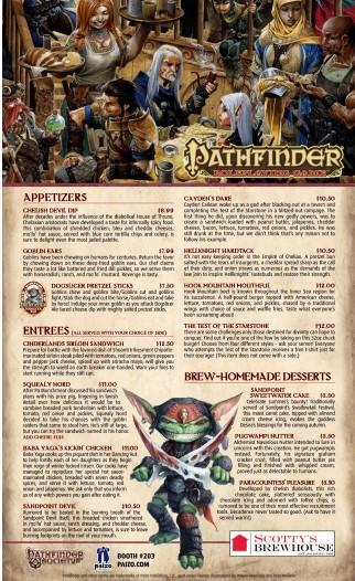 Scotty's Brewhouse Pathfinder Menu Revealed for Gen Con Indy [Gen Con 2013]